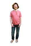 Смешной счастливый человек в шляпе и джинсах Панамы стоковое изображение rf