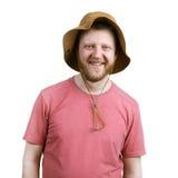 Смешной счастливый человек в шляпе Панамы стоковые фото