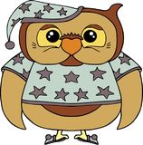 Смешной сыч в пижамах с звездами Животные и персонажи из мультфильма птиц изолированные на белизне Стоковое Изображение