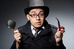 Смешной сыщик с трубой Стоковая Фотография