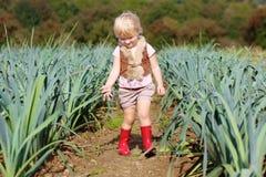 Смешной лук-порей рудоразборки девушки preschooler в поле Стоковые Изображения RF