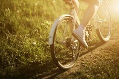 Смешной управлять девушки внешний Фокус на велосипеде Солнечная концепция образа жизни лета Женщина в платье и шляпе в поле с Стоковая Фотография