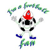 Смешной футбольный мяч с выступленной крышкой на белой предпосылке Vector иллюстрация, печать, характер футбола с литерностью Стоковое Изображение