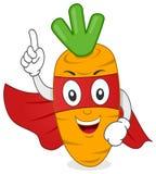 Смешной характер моркови супергероя иллюстрация вектора
