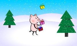 Смешной характер свиньи жонглируя с настоящими моментами в лесе зимы иллюстрация штока