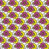 Смешной цветочный узор Цветки цвета на белой предпосылке Стоковые Фотографии RF
