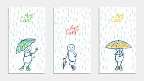 Смешной человек с комплектом карточки зонтика и дождя Карандаш crayon воска или пастельный мел любят рука ` s ребенк нарисованный иллюстрация вектора
