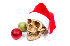 Смешной череп в шляпе Санта Клаусе на белой предпосылке Стоковая Фотография RF