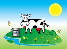 Смешной черный белый вектор коровы Стоковые Изображения RF