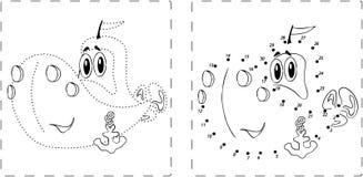 Смешной чертеж корабля с точками и числами бесплатная иллюстрация