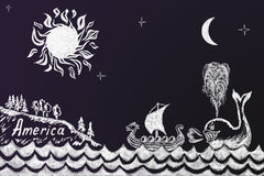 Смешной чертеж мела образования о как кит принудил Викинга иллюстрация вектора