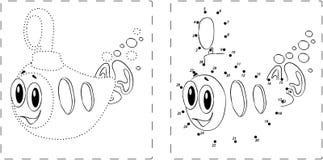 Смешной чертеж подводной лодки с точками и числами Стоковая Фотография RF
