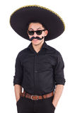 Смешной человек нося мексиканскую изолированную шляпу sombrero Стоковое Изображение