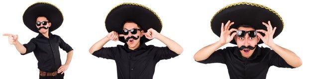 Смешной человек нося мексиканскую шляпу sombrero изолированную на белизне Стоковое фото RF