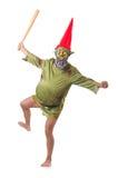 Смешной человек при изолированный клуб Стоковая Фотография