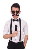 Смешной человек при mic изолированный на белизне стоковые изображения rf