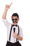 Смешной человек при mic изолированный на белизне стоковая фотография rf