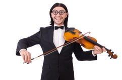 Смешной человек с аппаратурой музыки Стоковые Изображения