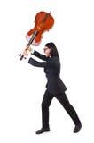Смешной человек с аппаратурой музыки Стоковая Фотография RF