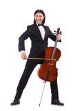 Смешной человек с аппаратурой музыки Стоковая Фотография
