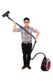 Смешной человек с пылесосом Стоковая Фотография RF