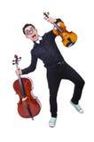 Смешной человек с скрипкой Стоковое Изображение RF