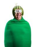 Смешной человек с шлемом арбуза и гуглит Стоковое Изображение RF