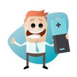 Смешной человек шаржа с большой батареей иллюстрация штока