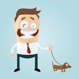 Смешной человек шаржа с собакой Стоковая Фотография