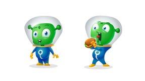 Смешной чужеземец и чужеземец пробуя съесть earthy сандвич, стикеры иллюстрация вектора