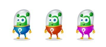 Смешной чужеземец шаржа в космическом костюме, дружелюбном зеленом Марсианине, характере для компании в современном стиле 3D иллюстрация штока