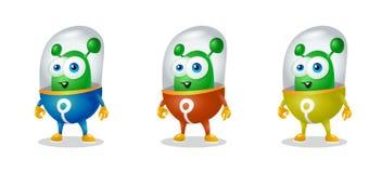 Смешной чужеземец шаржа в космическом костюме, дружелюбном зеленом Марсианине, характере для компании в современном стиле 3D Стоковые Фото