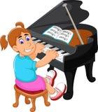 Смешной шарж девушки играя рояль иллюстрация вектора