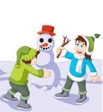 Смешной шарж детей играя с снеговиком в снеге зимы иллюстрация штока