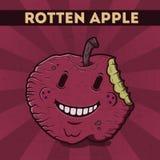 Смешной, шарж, злостое, фиолетовое яблоко изверга, на scratchy ретро предпосылке. Иллюстрация вектора. Карточка хеллоуина. Тухлый  Стоковое Изображение RF