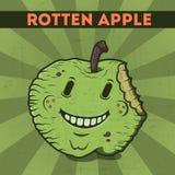 Смешной, шарж, злостое, фиолетовое яблоко изверга, на scratchy ретро предпосылке. Иллюстрация вектора. Карточка хеллоуина. Тухлый  Стоковая Фотография RF