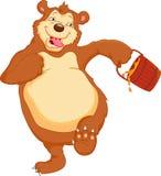 Смешной шарж медведя с медом Стоковые Фото