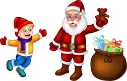 Смешной шарж Санта Клауса стоя дающ подарок с смеяться над иллюстрация вектора