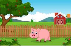 Смешной шарж свиньи бежать для вас дизайн иллюстрация штока