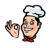 Смешной шеф-повар, повар Меню, логотип ресторана или ярлык alien кот шаржа избегает вектор крыши иллюстрации бесплатная иллюстрация