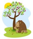 Смешной шимпанзе и маленькая улитка сидя под деревом с падать плодоовощей красного цвета также вектор иллюстрации притяжки corel Стоковые Фото