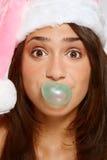 смешной шлем santa девушки Стоковое фото RF