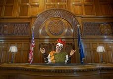Смешной шут суда, судья, закон, зал судебных заседаний стоковые фото
