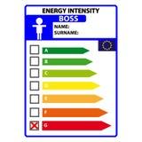 Смешной ярлык efficience энергии для босса изолированного на белой предпосылке Вектор Illustartion бесплатная иллюстрация