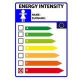 Смешной ярлык efficience энергии для womwn изолированного на белой предпосылке Вектор Illustartion иллюстрация штока