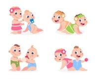 Младенцы мультфильма Смешной newborn мальчик и девушка сидя совместно, милые близнецы сестра и брат Дети вектора счастливые бесплатная иллюстрация