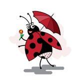 Смешной pinup ladybug шаржа Стоковые Изображения