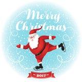 смешной santa Плакат предпосылки поздравительной открытки рождества Иллюстрация штока