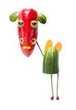 Смешной vegetable кашевар с вилкой и ложкой Стоковые Изображения RF
