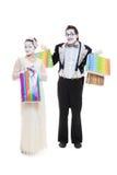 смешно идут mimes ходя по магазинам 2 стоковые фотографии rf